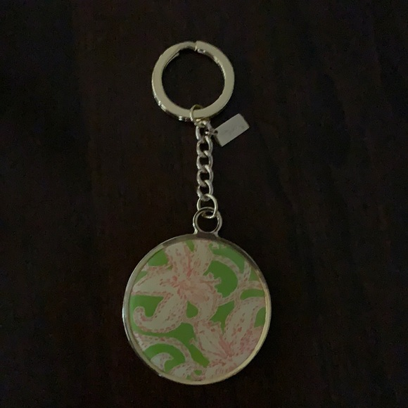 Lilly Pulitzer Hotty Pink metal key ring